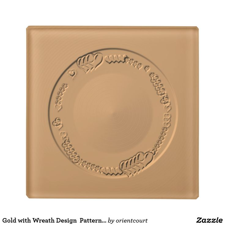 Gold with Wreath Design  Patterned> Glass Coasters