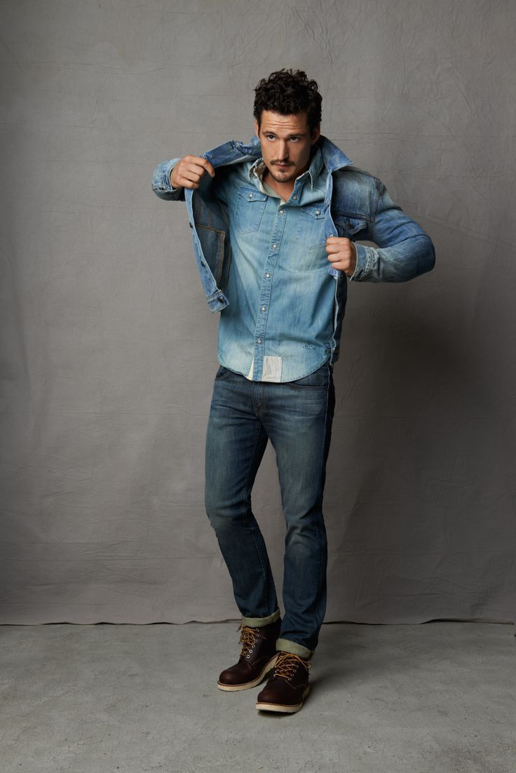 Shop this look for $200:  http://lookastic.com/men/looks/blue-denim-jacket-and-light-blue-denim-shirt-and-navy-jeans-and-dark-brown-boots/2440  — Blue Denim Jacket  — Light Blue Denim Shirt  — Navy Jeans  — Dark Brown Leather Boots