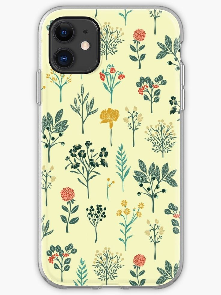 Dainty yellow red teal cream floral pattern iphone