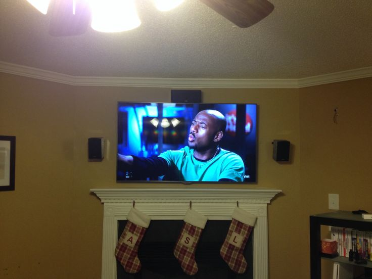 55 led tv over fireplace wall mount installation with 5 1 for Channel 7 living room