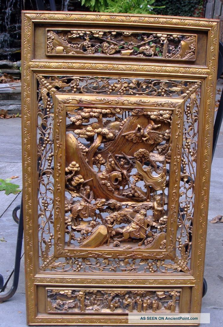 Chinese carved wooden panels wood