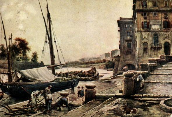 """""""O Porto de Ripetta"""". (1880). (By Ettore Roesler Franz)."""