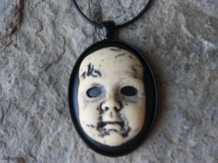 """Creepy Baby Doll, Zombie Baby, Zombie, Scary Doll, (Hand Painted) Cameo Pendant Necklace- 18"""" Leather Cord- Great Quality!! 2"""" Long - pinned by pin4etsy.com"""
