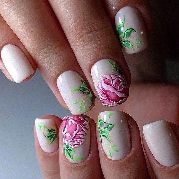 Beige nails by gel polish, Drawings on nails, Festive nails, flower nail art…
