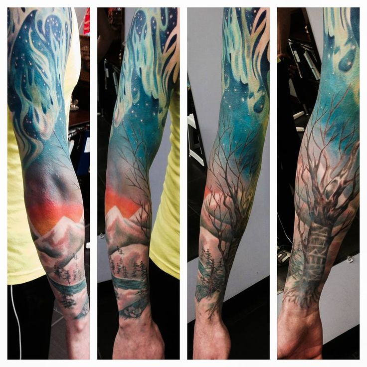 Merlin Sleeve by Angie Doucet with trees, mountains and the northern lights