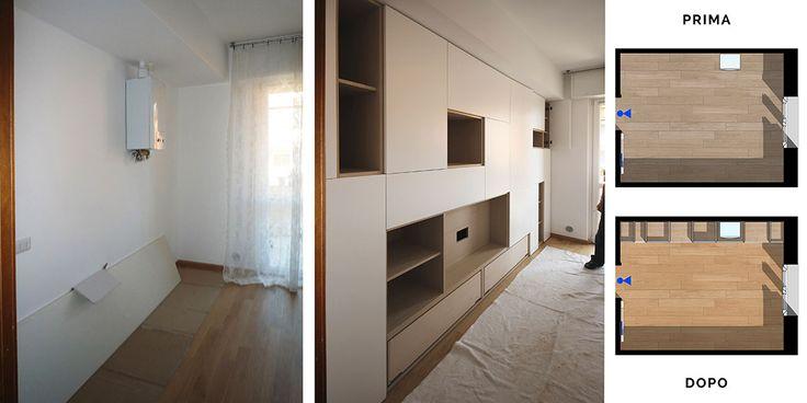 Parete attrezzata moderna. Questa parete attrezzata è un mobile da livingcon nicchiatv e librerie che e' anche un armadio. Design artigianale firmato JFD