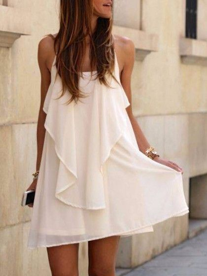 White, Chain, Spaghetti Strap, Back Cross, Asymmetric, Hem Dress