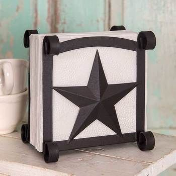 Star Napkin Holder - Rustic Brown - 2 pcs