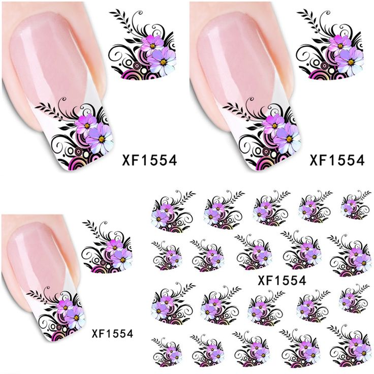 1 Aheet XF1554 Watermark Water Transfer Design Purple Flowers European Style Tip Nail Art Sticker Nails Decal Manicure Tools