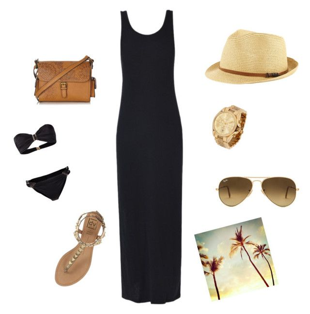 MAXI VESTIDO NEGRO by romi-lagos-vilches on Polyvore featuring moda, ONLY, Plein Sud, Dolce Vita, Mantaray, Michael Kors, Michael Stars and Ray-Ban