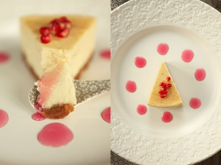 made by mary - Vit Chokladcheesecake med Granatäppelsirap - White Chocolate Cheesecake with Pomegranate Syrup