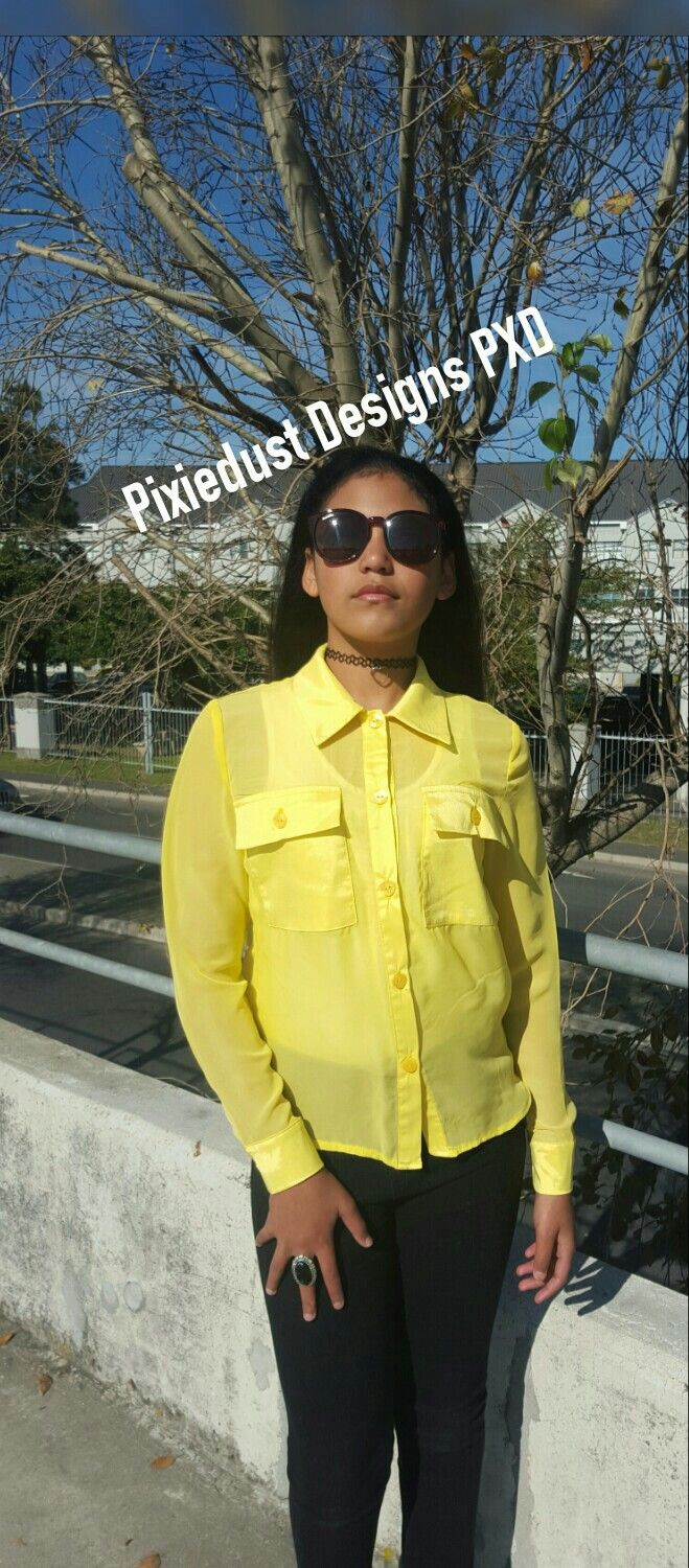 Yellow sheer shirt with 2 front pockets PIXIEDUST DESIGNS PXD 2016