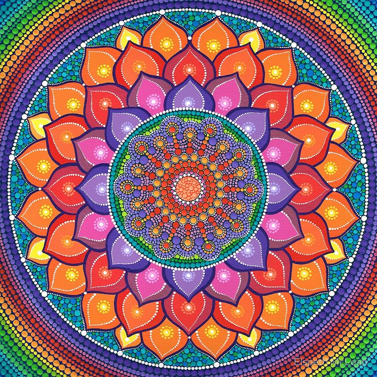 Lotus rainbow mandala by elspeth mclean mandalas for Mural mandala