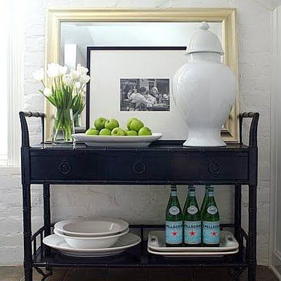 Love This Vignette For A Corner In The Dining Room Home Pinterest Serving Cart Trays And Bar