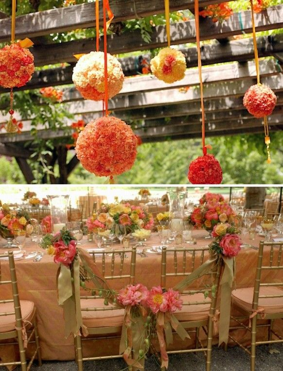 summer wedding decor orange hanging flower kissing ball for garden wedding decor