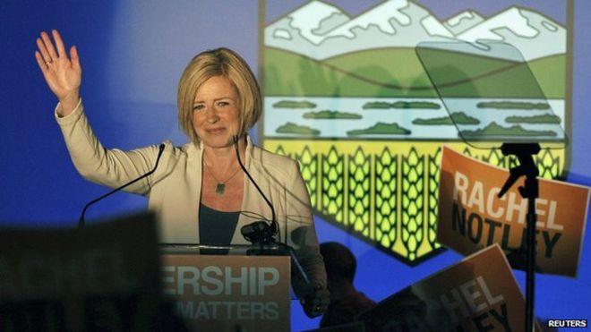 NDP leader Rachel Notley in Edmonton on 5 May 2015