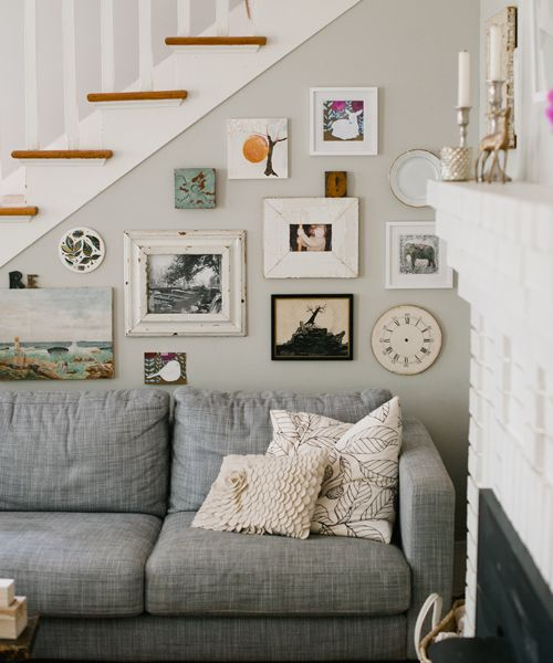 Asheville bungalow: Grey Couch, Wall Collage, Living Rooms, Gray Couch, Color, Galleries Wall, Grey Wall, Grey Sofas, Gray Wall