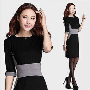 LuoWeiQiGuLi estilo coreano delgado del temperamento del color del vestido de costura (Negro) - USD $ 99.97