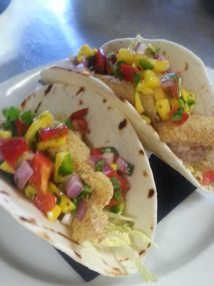 Frederick's is open for lunch! Come in and try our new Fish Tacos with catfish, mango jalapeno salsa and napa cabbage, topped with a kaper aioli!   #yum
