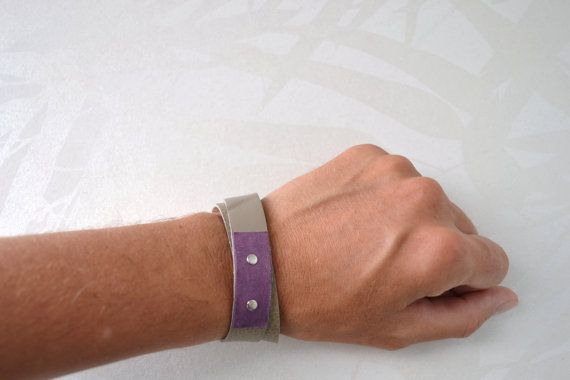 grey and purple leather bracelet - gypsy festival bracelet made of genuine leather - grey minimal leather wrap bracelet - gift for her