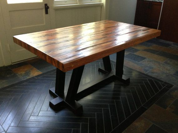 Strip Craftsman Wood Dining Table From Reclaimed Wood By Rdandco