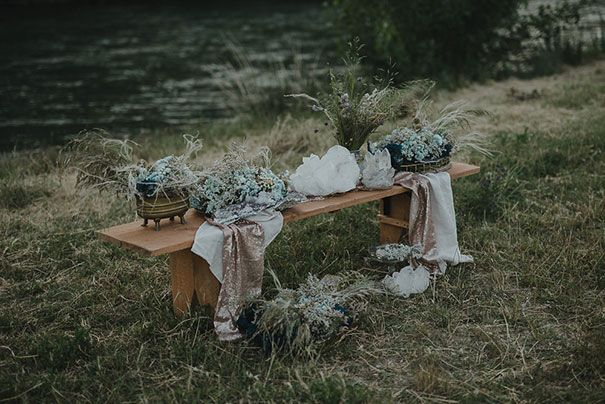 Something like this for a dinner setup? Low to the ground, simple, natural