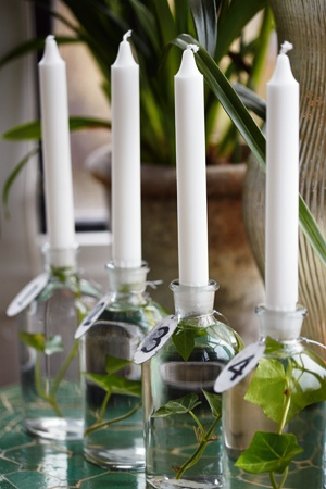 This wonderful idea open up all sorts of possibilities for re-purposed bottles, botanicals and candles...I have them done and just waiting for our first summer patio dinner