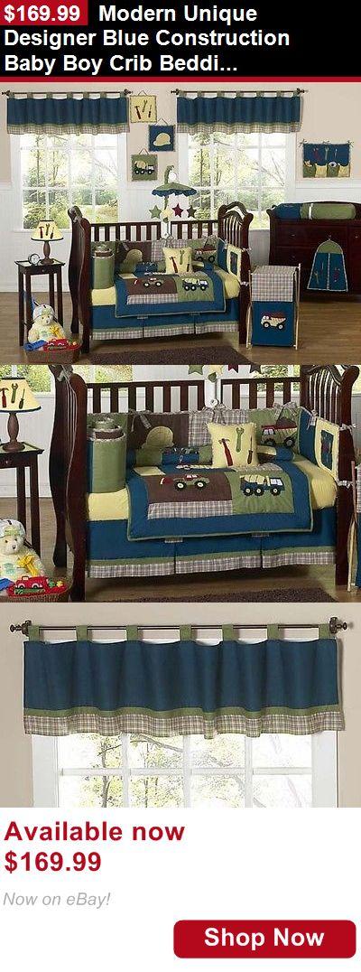 Nursery Bedding Sets: Modern Unique Designer Blue Construction Baby Boy Crib Bedding Set For A Newborn BUY IT NOW ONLY: $169.99