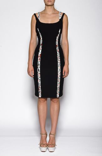 Versace dress Black dress with sequins strips, shoulder straps, pleats at the back. 100%SILK Code: A68419A206160