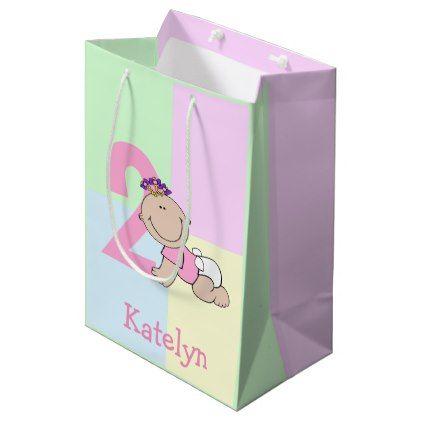 Cute Cartoon Baby Girl 2nd Birthday Medium Gift Bag - craft supplies diy custom design supply special