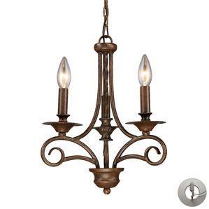 Elk Lighting Gloucester 3 Light Chandelier in Weathered Bronze - includes Recessed Lighting Kit
