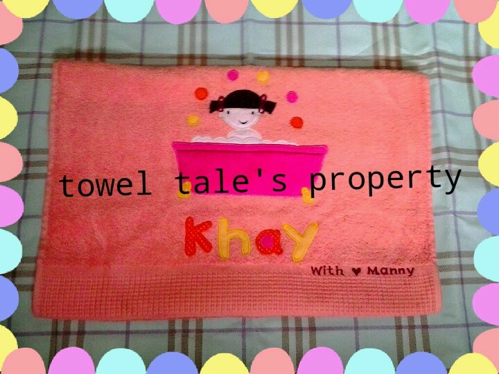 embroidery towel 'a little girl in a tub'