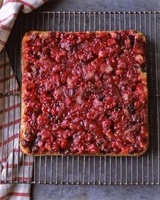 Cranberry Duff  -- ... Northeastern interpretation of an old-fashioned upside-down cake, cranberries and toasted pecans are topped with buttery batter, and then baked and inverted. The cranberries soften in the oven but the pecans stay crunchy, lending a textural flourish.
