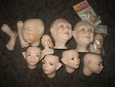 porcelain doll parts lot of 10 mixed doll heads 4 doll repair or MIXED MEDIA ART