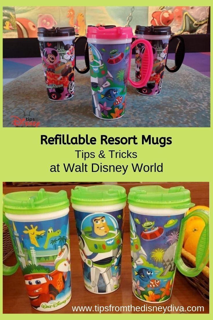 Refillable Resort Mugs Tips Tricks At Walt Disney World Disney World Tips And Tricks Walt Disney World Walt Disney World Vacations