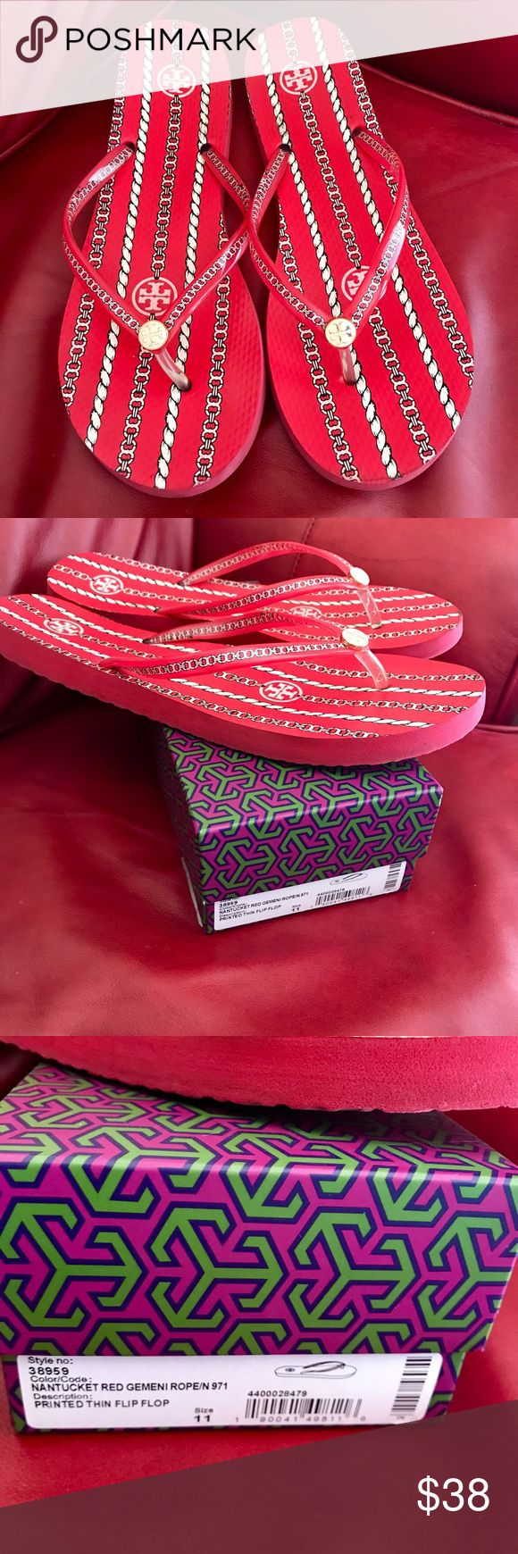 Tory Burch Printed Thin Flip Flop, Nantucket Red Tory Burch Printed Thin Flip Flop, Nantucket Red, size women's 11. I bought these for myself from Nordstrom this summer and they are a touch too big for me. Flip flops are in VGUC (see photos). Tory Burch Shoes Sandals