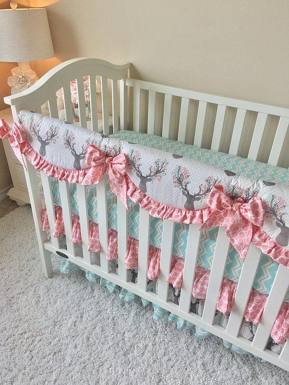 Girly Stag Baby Bedding Blush Crib Bedding Mint Baby