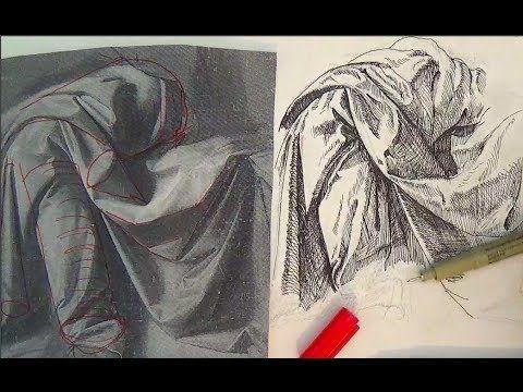 ▶ Pen and Ink Drawing Tutorials | How to draw drapery like Leonardo da Vinci - YouTube