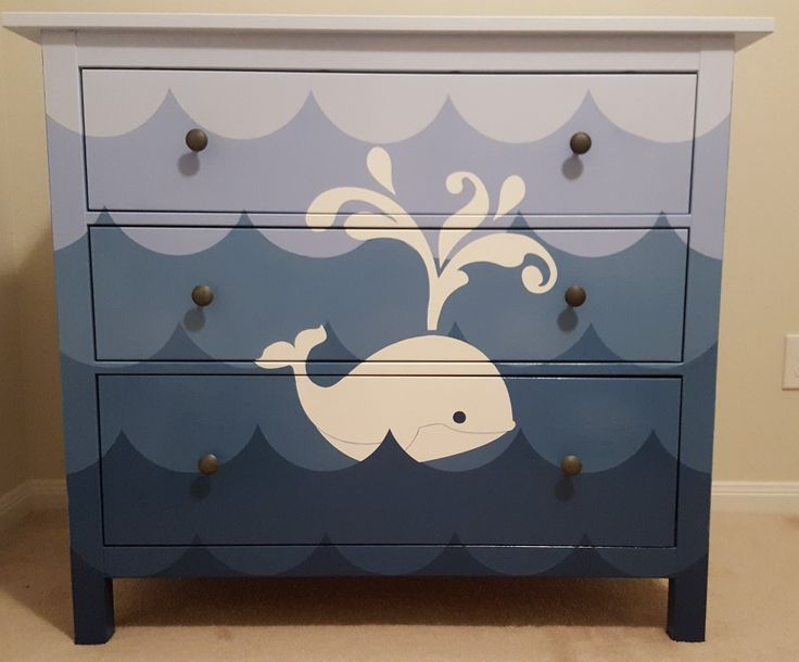 Whale dresser for nautical themed nursery