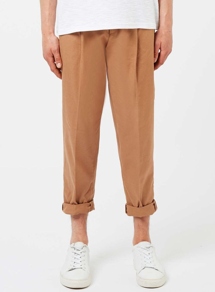 Camel Linen Blend Pleated Dress Pants