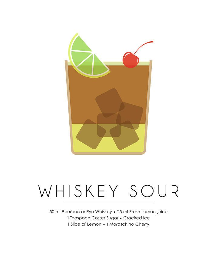 Whiskey Sour Classic Cocktail Minimalist Print Mixed Media by Studio Grafiikka