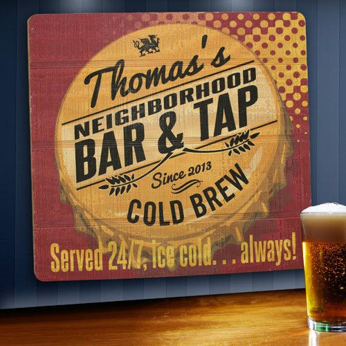 Our wood tavern and bar signs are personalized for the perfect addition to any space. From your den to his man cave our real wood signs are sure to catch your eye. The served 24/7 sign was exclusively