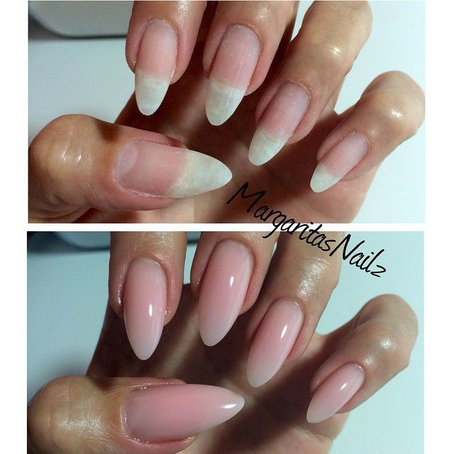 nude nails natural nails with hard gel overlay