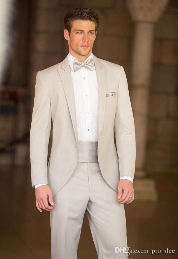 Slim Fit One Buttons Business Groom Tuxedos Peak Lapel Beige Groomsmen Best Man Suits 2014 Custom Made Wedding Prom Suits For Men Mens Dinner Jackets Mens Dress Style From Promlee, $99.23| Dhgate.Com