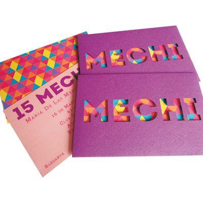Tarjetas de 15 años modernas y coloridas, caladas