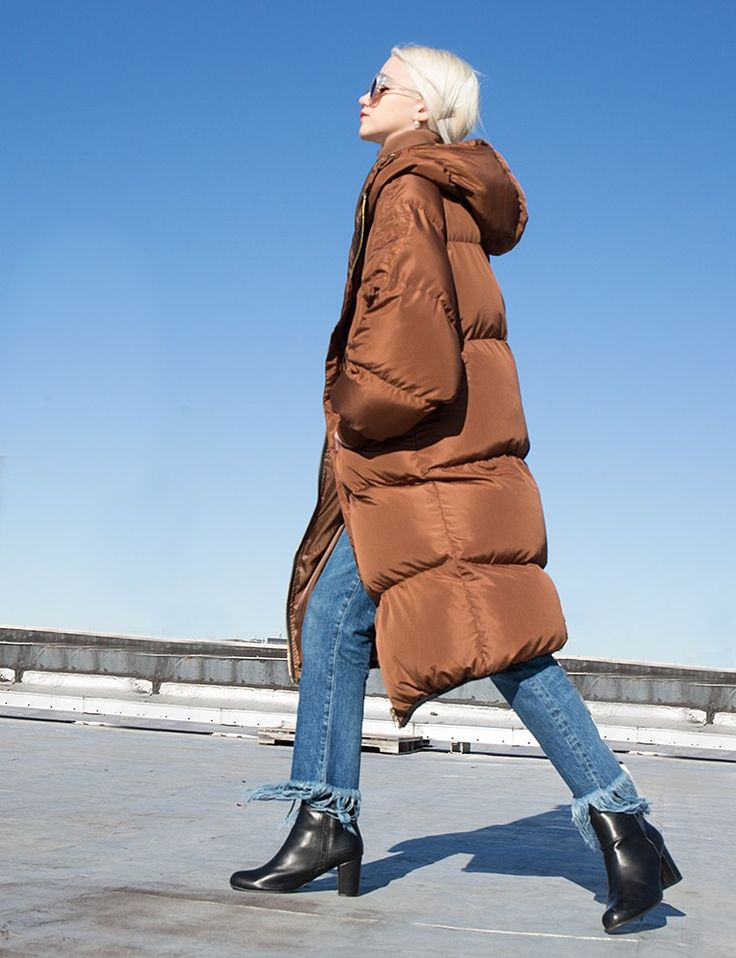 Brown Long Puffy Coat #fashion #pixiemarket