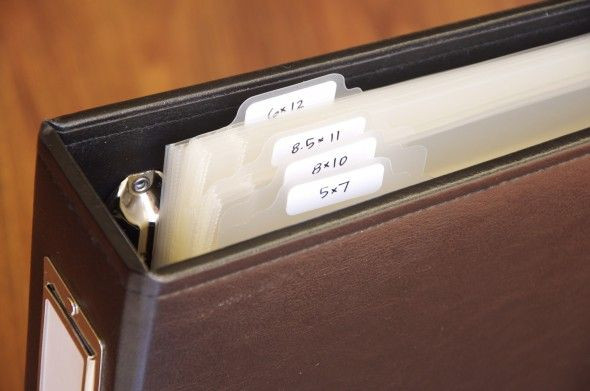 Love this method for organizing page protectors.