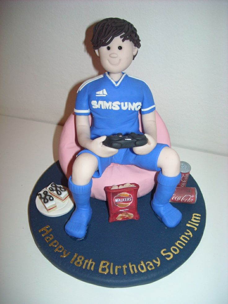18th Birthday Fimo Cake Topper Boy on a Beanbag on his Playstation!
