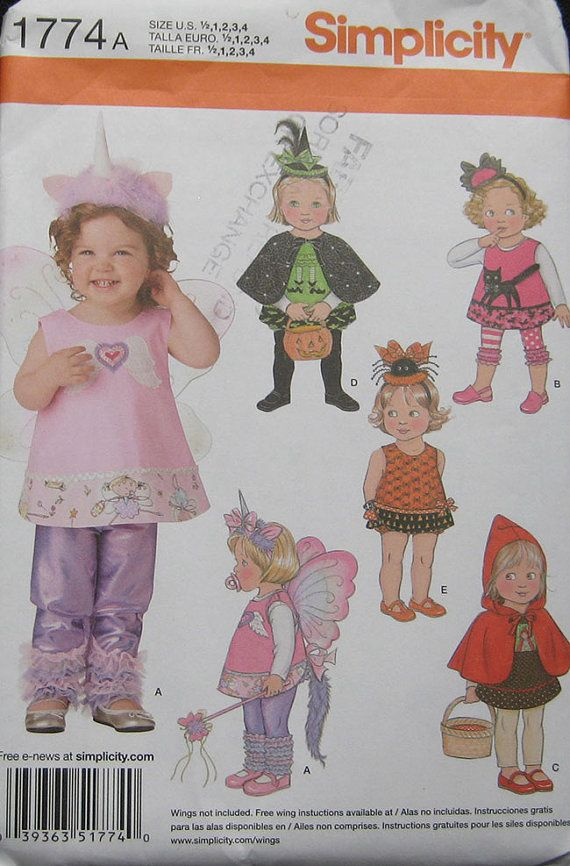 Simplicity Toddlers Halloween Costume Pattern by TheHowlingHag, $6.95
