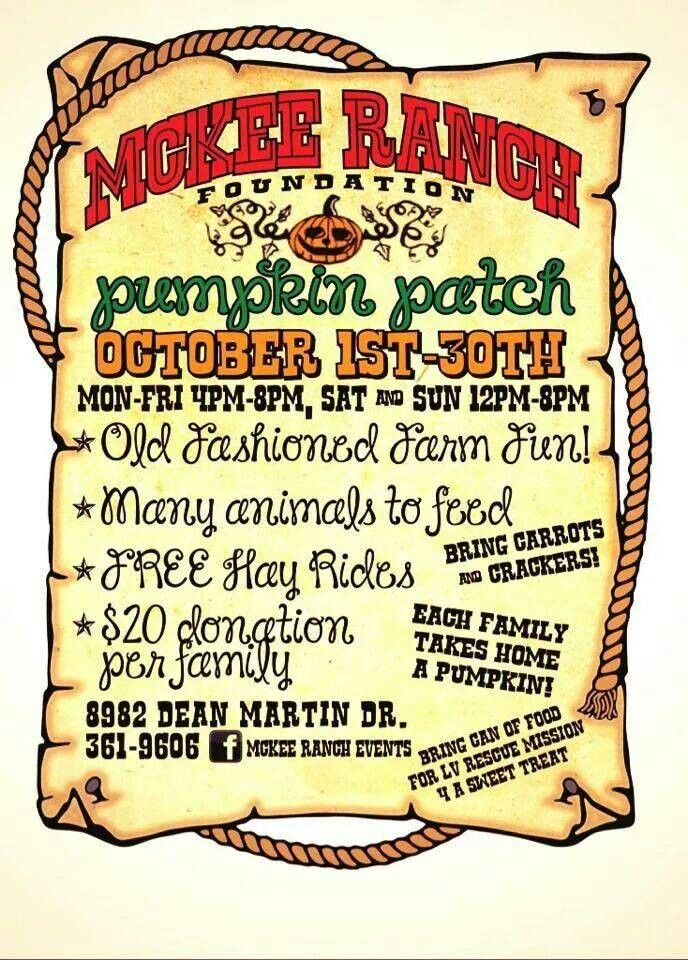 October  2014. Can't wait for McKee Ranch Pumpkin Patch. Las Vegas, Nevada (702) 361-9606